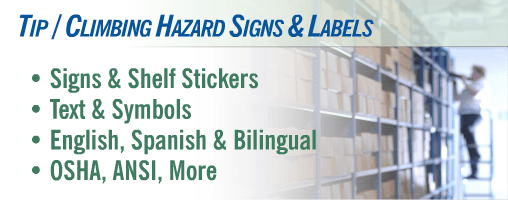 Tip / Climbing Hazard Signs and Labels