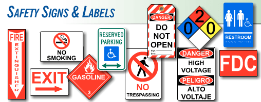 Safety signs by category